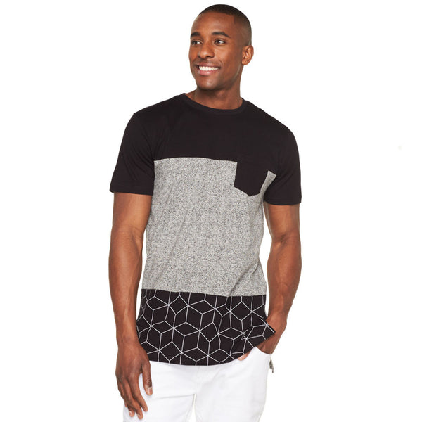 Marl Over Geo Print Long-Length Pocket Tee - Citi Trends Mens - Front