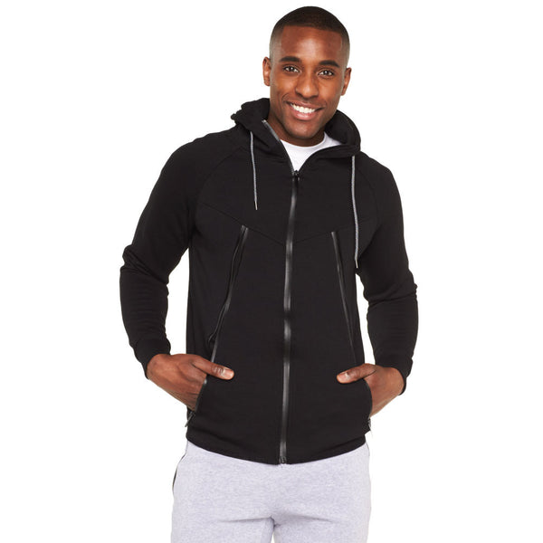Active Pursuit Black Fleece Zip-Up Hoodie - Citi Trends Mens - Front