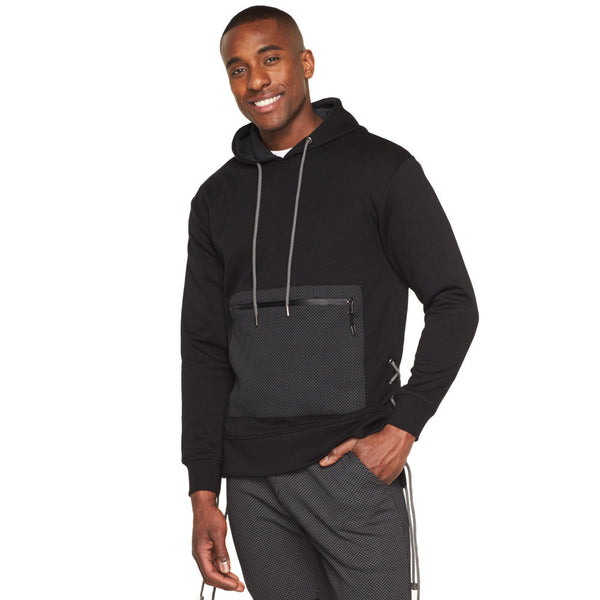 Sleek Situation Charcoal/Black Fleece Lace-Up Hoodie - Citi Trends Mens - Front