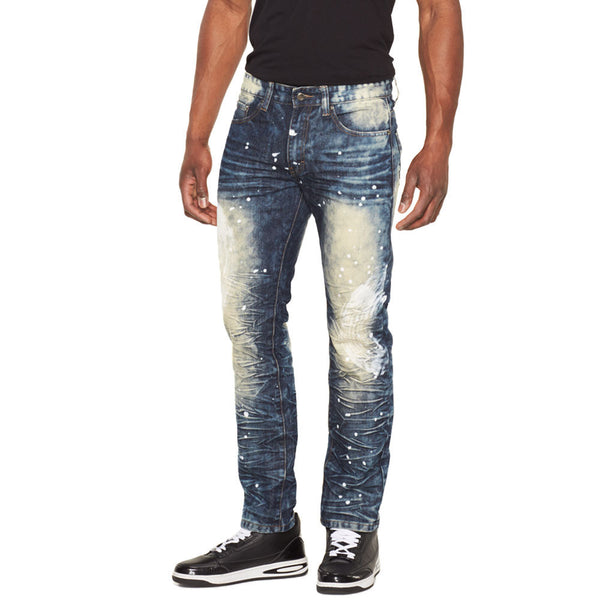Bleach Smarts Indigo Wash Paint Splatter Jean - Citi Trends Mens - Front