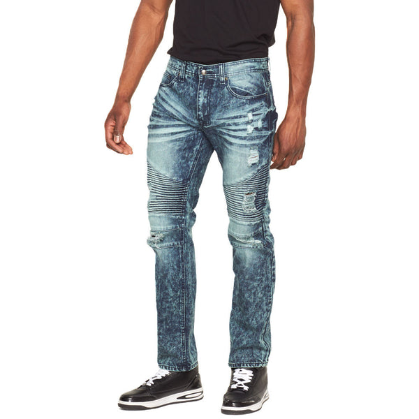 Just Rip It Aqua Bleached Moto Jean - Citi Trends Mens - Front
