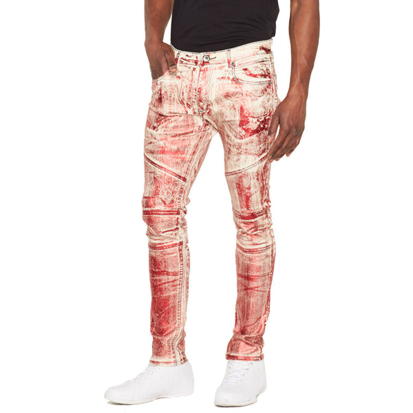 Metallic State Of Mind Red Foil Moto Jean - Citi Trends Mens - Front