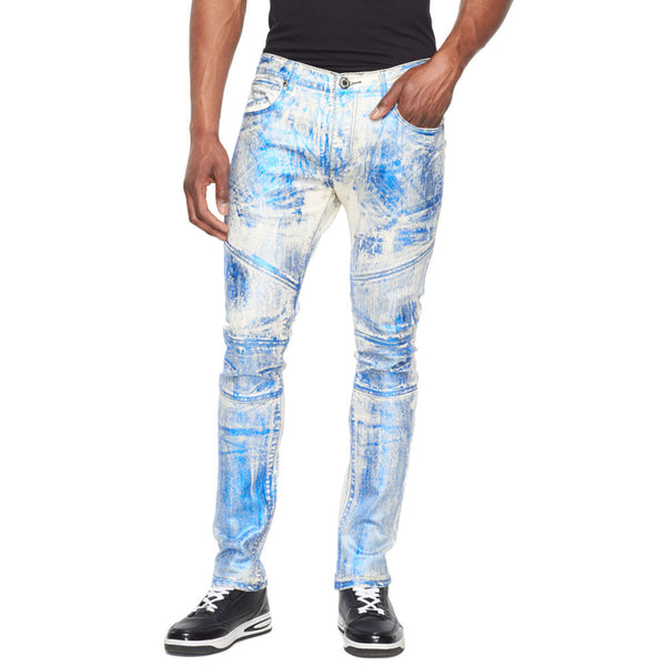 Metallic State Of Mind Blue Foil Moto Jean - Citi Trends Mens - Front