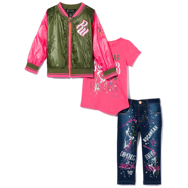 Diamonds Are Forever Girls Olive/Pink 3-Piece Rocawear Varsity Jacket Set - Citi Trends Girls - Front