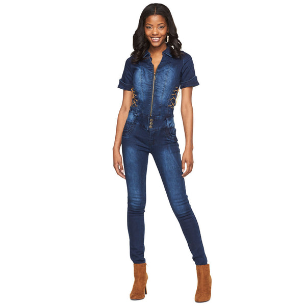Get In The Groove Denim Jumpsuit With Lace-Up Sides - Citi Trends Ladies - Front