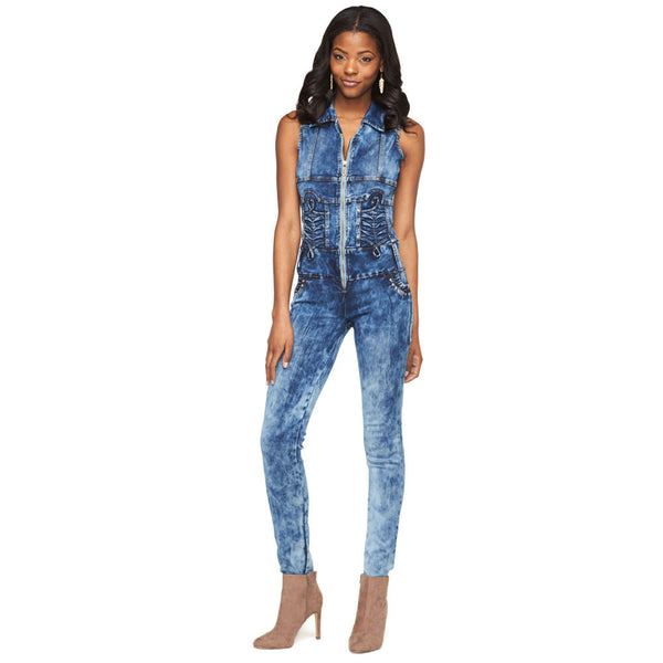 Denim Daytripper Acid Wash Zip-Up Jumpsuit - Citi Trends Ladies - Front