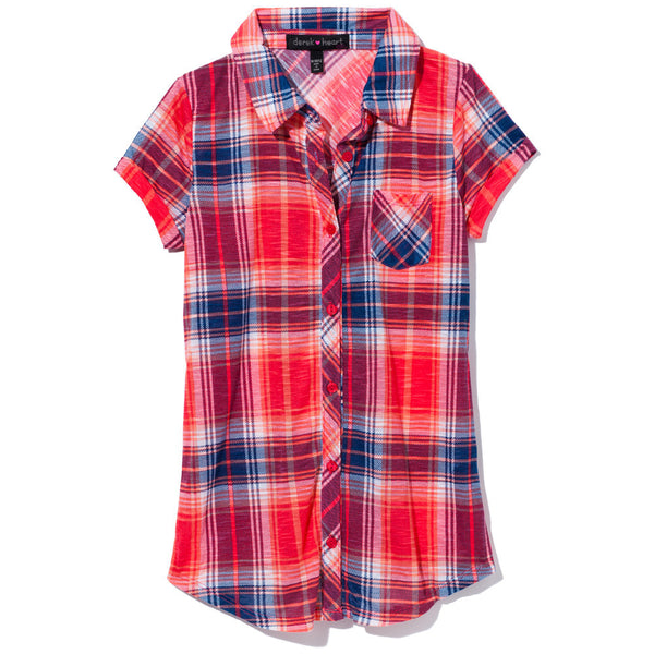Check It Out Girls Red/Blue Plaid Button-Up - Cititrends Girls - Front