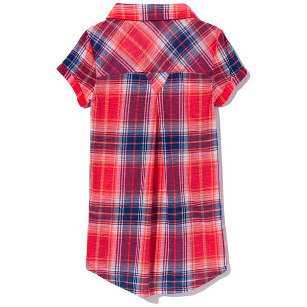 Check It Out Girls Red/Blue Plaid Button-Up - Cititrends Girls - Back