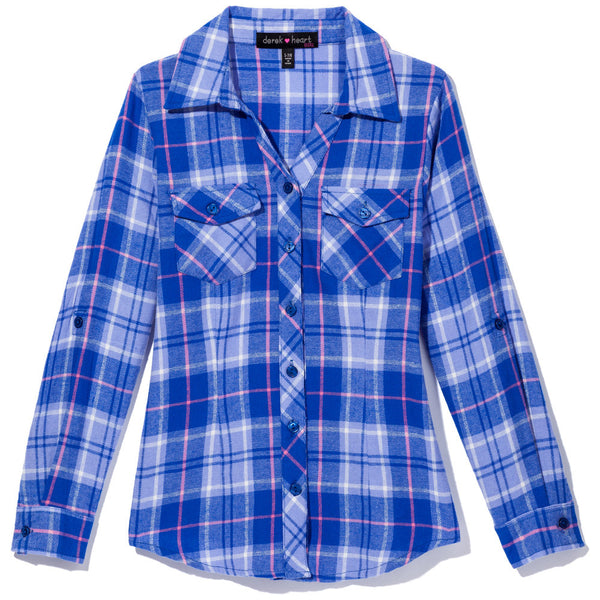 Check It Out Girls Blue Plaid Flannel Button-Up - Citi Trends Girls - Front