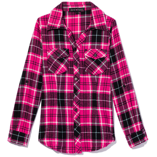 Check It Out Girls Pink Plaid Flannel Button-Up - Citi Trends Girls - Front