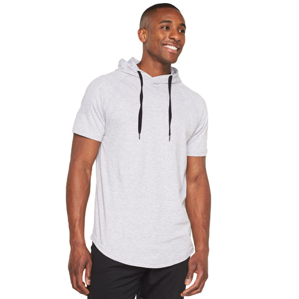 Moto Mood Heather Grey Curve-Hem Hoodie - Citi Trends Mens - Front