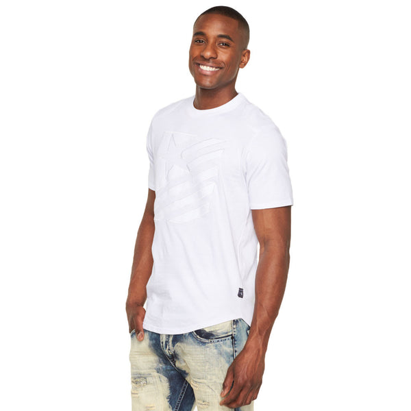 Quilt While Your Ahead White Moto Tee - Citi Trends Mens - Front