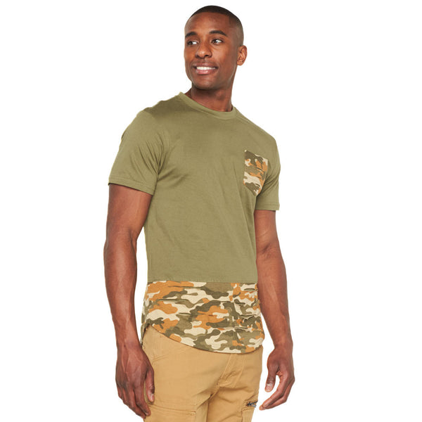 Camo Connection Olive Distressed Pocket Tee - Citi Trends Mens - Front