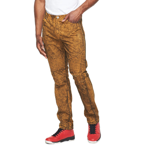Caramel Acid Wash Denim Moto Jean - Citi Trends Mens - Front
