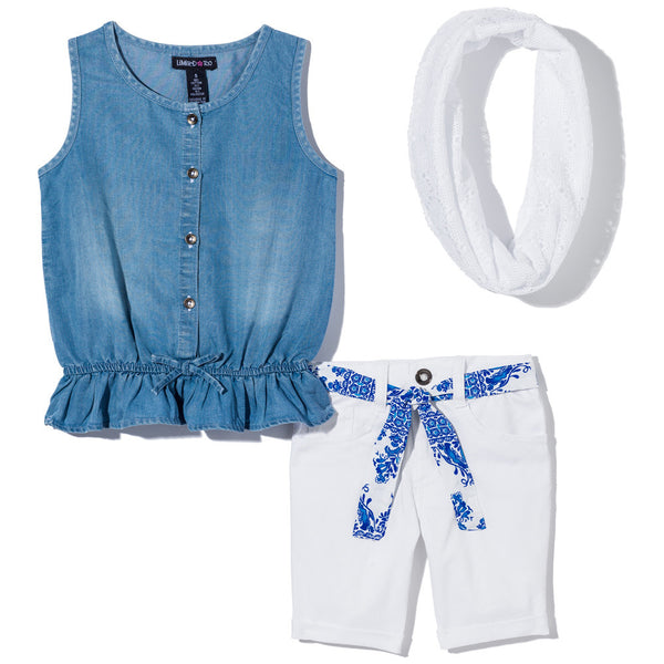 Apple Of My Eyelet Girls 3-Piece Denim Bermuda Set - Citi Trends Girls - Front