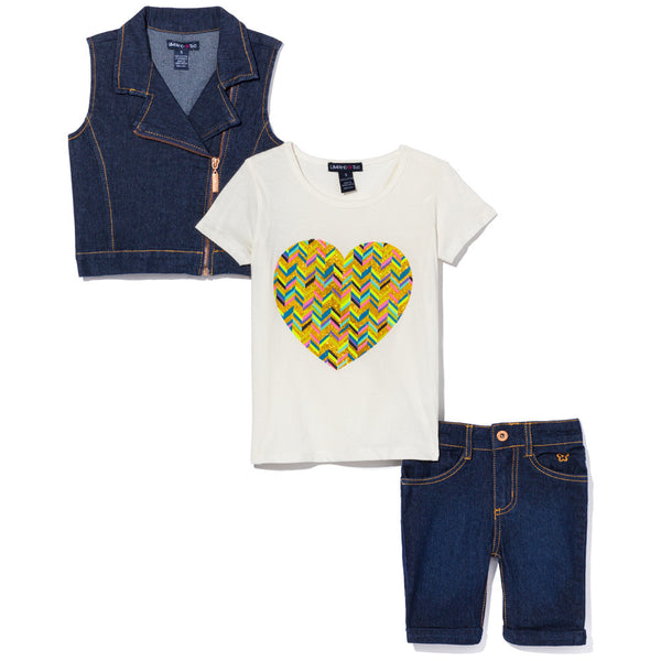 Chevron Heart Girls 3-Piece Vest Set - Cititrends Girls - Front