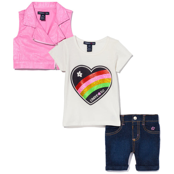Rainbow Heart Girls 3-Piece Vest Set - Cititrends Girls - Front