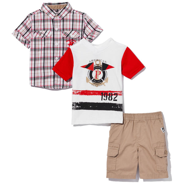 Check On Trend Boys 3-Piece Khaki Cargo Short Set - Citi Trends Boys - Tee Front