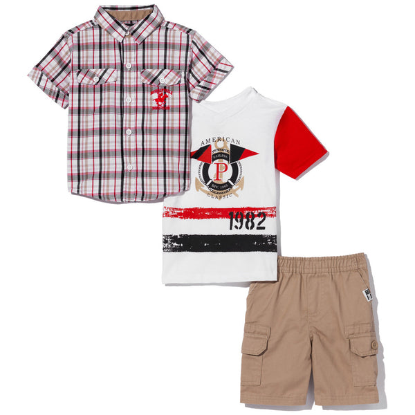 Check On Trend Boys 3-Piece Khaki Cargo Short Set - Citi Trends Boys - Front