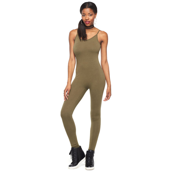 Good-To-Go Olive Spaghetti Strap Catsuit - Citi Trends Ladies - Front