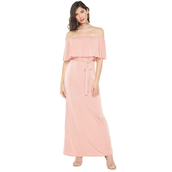 Spring Must-Have Mauve Off-The-Shoulder Maxi Dress - Citi Trends Ladies - Front