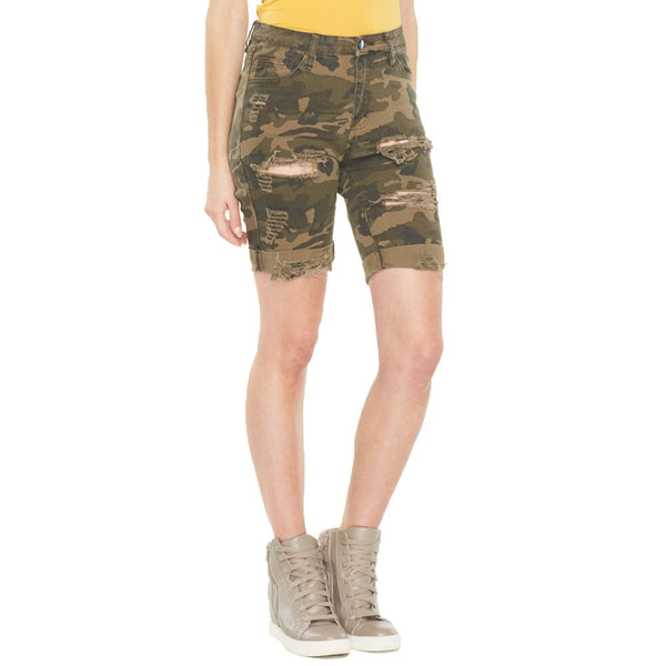 Camo Connection Ripped Bermuda Short - Citi Trends Ladies - Front