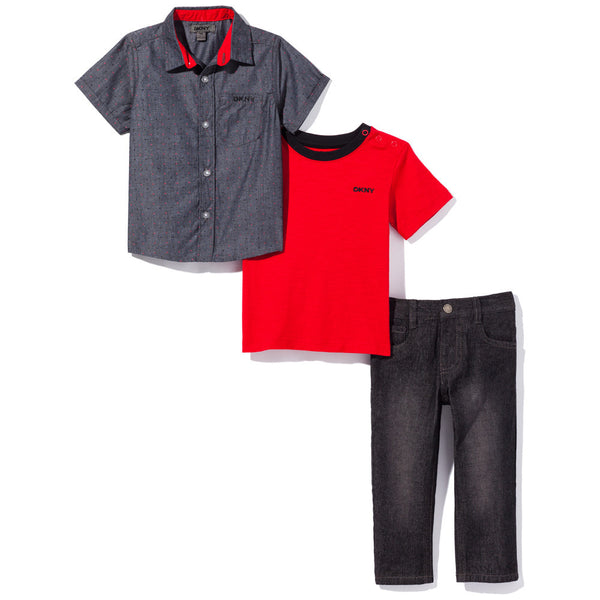 Spot In The Dark Boys 3-Piece DKNY Denim Pant Set - Citi Trends Boys - Button Front
