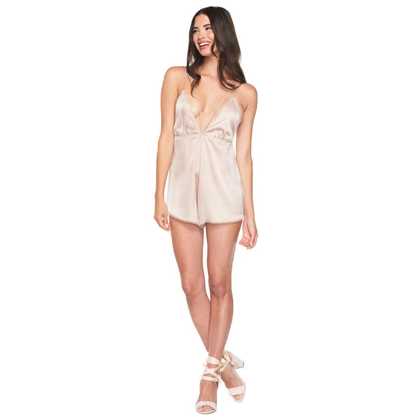 Sleek And Chic Champagne Satin Romper - Citi Trends Ladies - Front