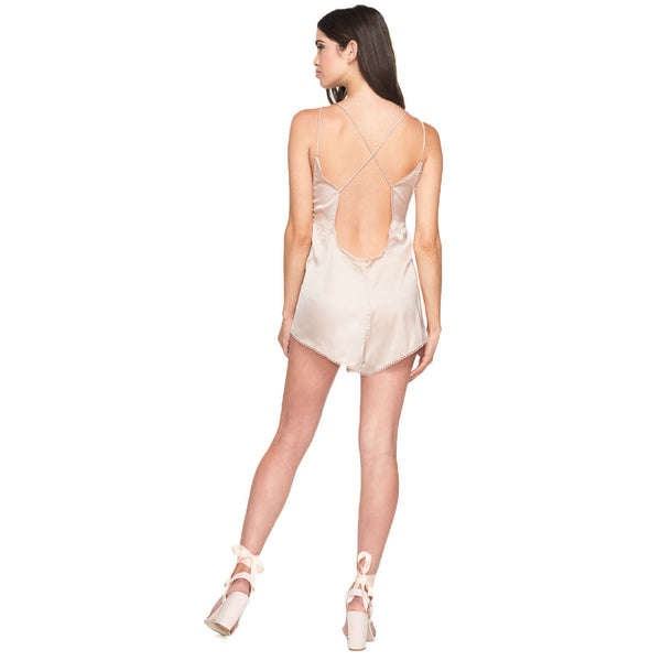 Sleek And Chic Champagne Satin Romper - Citi Trends Ladies - Back