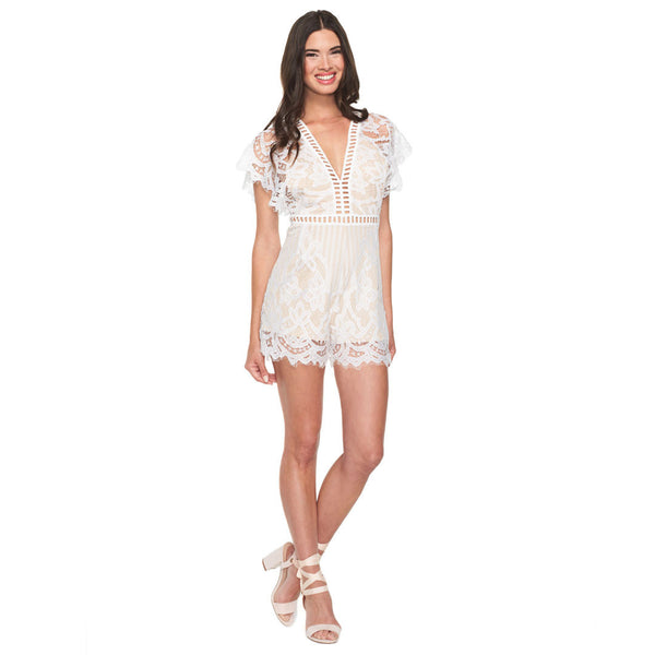 Sweet Retreat White Lace Romper - Citi Trends Ladies - Front