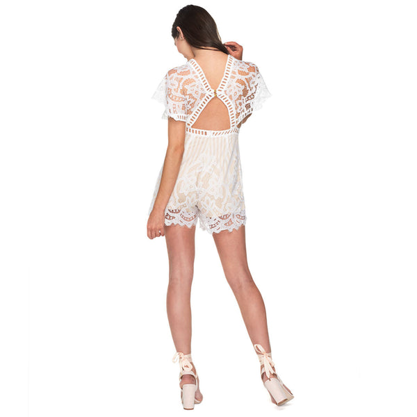 Sweet Retreat White Lace Romper - Citi Trends Ladies - Back