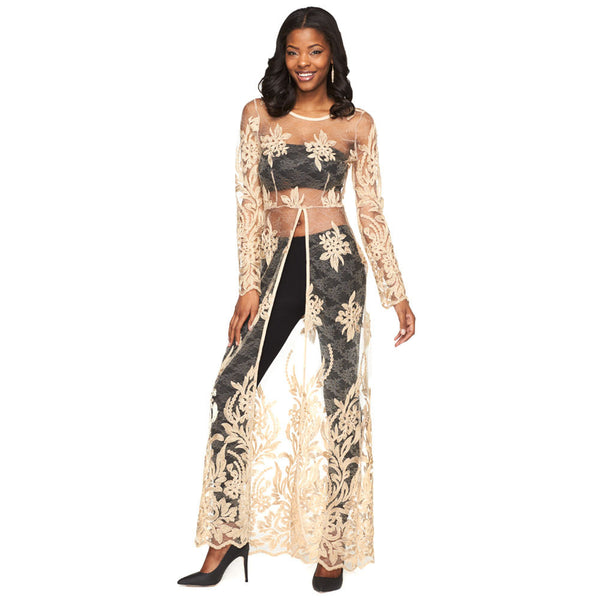 Bare To Be Trendy Gold Crochet Maxi Top - Citi Trends Juniors - Front