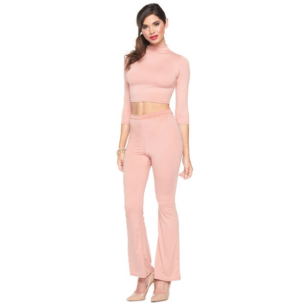 Feeling Mauve-lous 2-Piece High-Waist Flare Pant Set - Citi Trends Ladies - Front