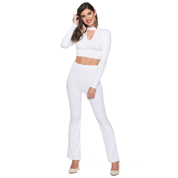 Can You Dig It? White 2-Piece High-Waist Flare Pant Set - Citi Trends Ladies - Front