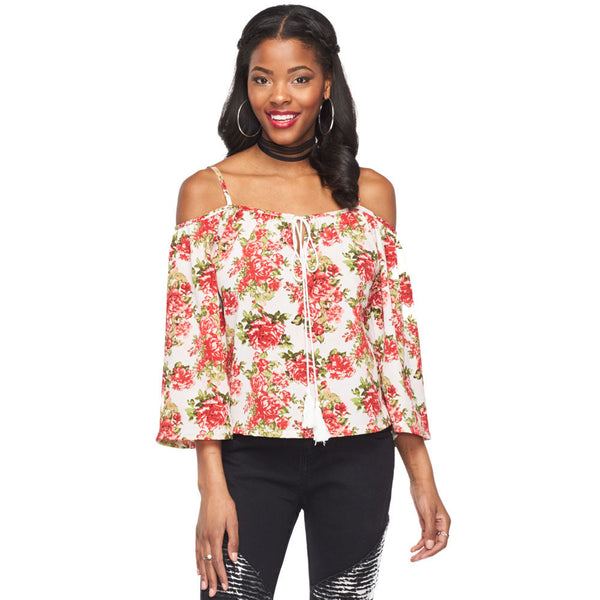 Floral Or Nothing Ivory Off-The-Shoulder Top - Citi Trends Ladies and Plus - Front
