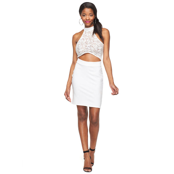 Cut It Out White Lace Mini Dress - Citi Trends Ladies - Front