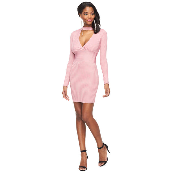 Ribbed Perfection Mauve Long Sleeve Bodycon Choker Dress - Citi Trends Ladies - Front