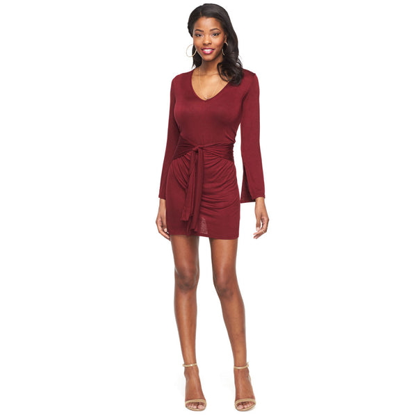 All Wrapped Up Burgundy Long Sleeve Jersey Dress - Citi Trends Ladies - Front