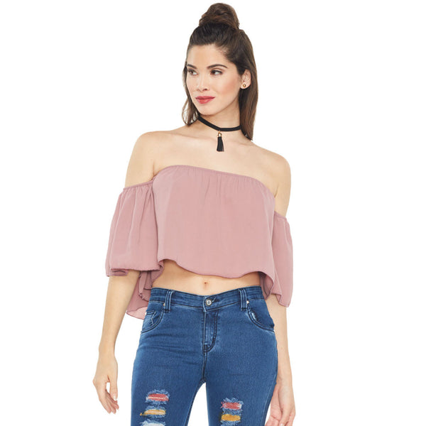 Crop It Mauve Off-The-Shoulder Top With Choker Necklace - Citi Trends Ladies - Front