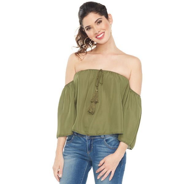Just Flow With It Olive Off-The-Shoulder Top - Citi Trends Ladies - Front