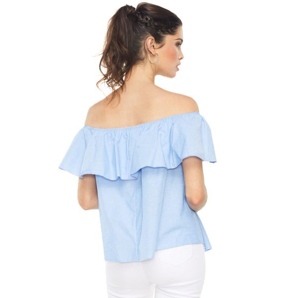 Standout Light Blue Chambray Off-The-Shoulder Flounce Top - Citi Trends Ladies And Plus - Back