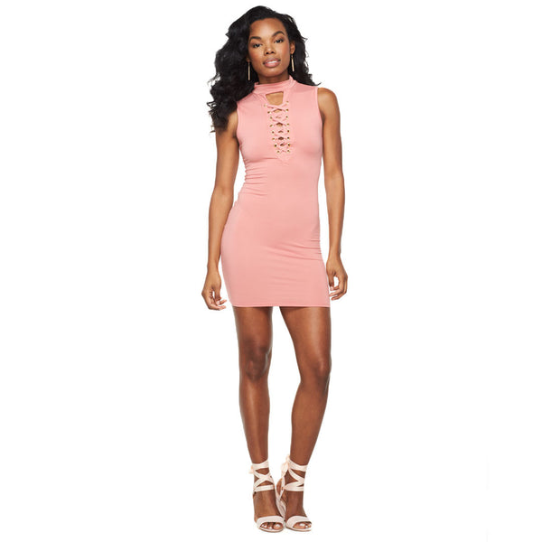Lace To The Top Mauve Bodycon Dress - Citi Trends Ladies - Front