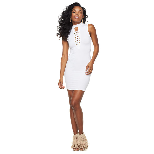 Lace To The Top White Bodycon Dress - Citi Trends Ladies - Front