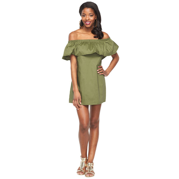 Cute And Casual Olive Off-The-Shoulder Ruffle Dress - Citi Trends Ladies and Plus - Front