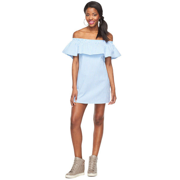 Cute And Casual Denim Pinstripe Off-The-Shoulder Ruffle Dress - Citi Trends Ladies and Plus - Front