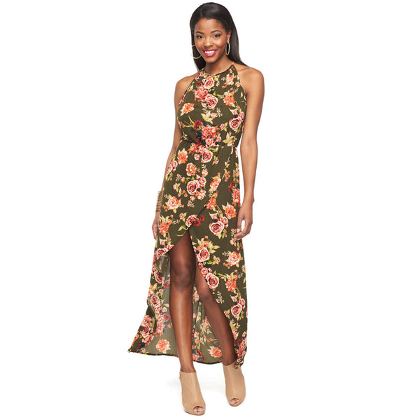 Spring Must-Have Olive Floral Maxi Dress - Citi Trends Ladies and Plus - Front