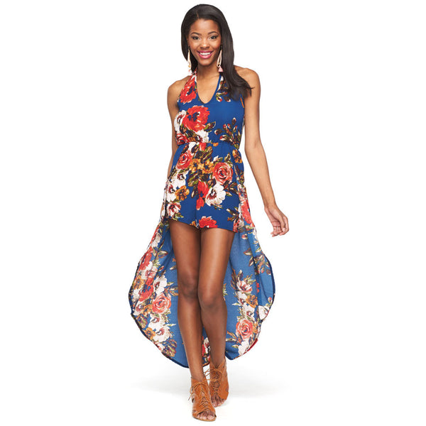 Resort Ready Blue Floral Maxi Romper - Citi Trends Ladies - Front