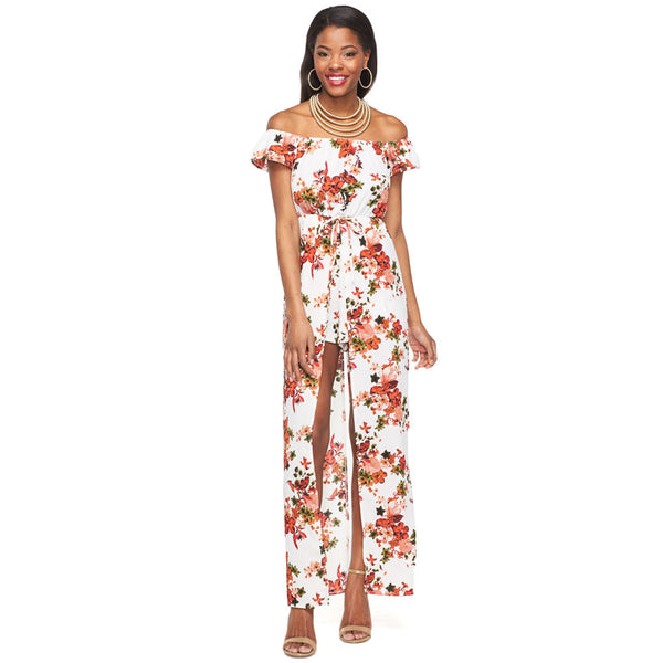 Go With the Flow Ivory Off-The-Shoulder Maxi Romper - Citi Trends Ladies and Plus - Front