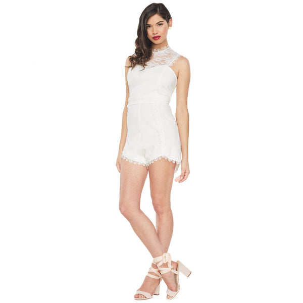 Summer loving White Mock-Neck Lace Romper - Citi Trends Ladies - Front