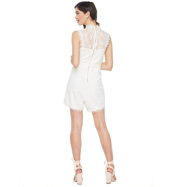 Summer loving White Mock-Neck Lace Romper - Citi Trends Ladies - Back